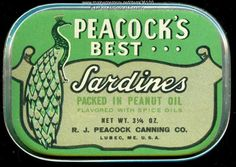 #Peacock's Best brand sardine can, Lubec, pre-1963. Item #36100 on Maine Memory Network