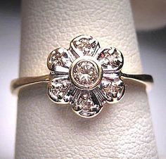 Antique Diamond Wedding Ring Retro Deco Flower 14K Gold