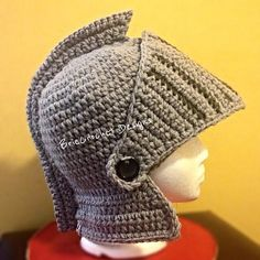 Ravelry: Extra Thick Knights Helmet- Adult S,M,L pattern by BrieCrochet Designs© 2013 Crochet Kids Hats, Crochet Beanie, Crochet Crafts, Crochet Clothes, Crochet Toys, Crochet Baby, Crochet Projects, Free Crochet, Knit Crochet