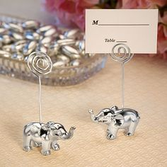 Add trunk-loads of style to your next event - from weddings, bridal or baby showers or bon voyage bashes - with these silver finish Elephant Place Card Holders. | Inexpensive Favors