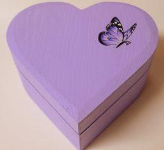 Purple Butterfly  Heart Shaped Box by RetroKawaii