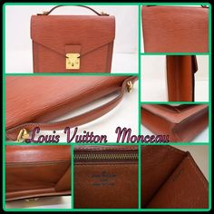 Authentic  Louis Vuitton Monceau Authentic  Louis Vuitton Monceau Pre-loved Colourful Epi leather is coupled with a charming retro style to create the Monceau a bag that is as lovely as it is feminine.  7.5 x 5.9 x 2.0 inches  (Length x Height x Width) - Front exterior pocket - Smooth leather trim - Shiny silver brass metallic pieces - Microfibre lining - Interior zipped pocket                                            - Serial No: A20973 Louis Vuitton Bags Totes