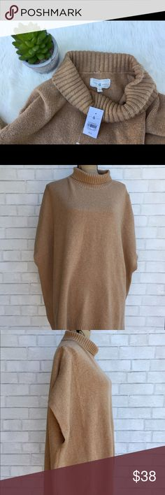 NEW Lou & Grey Tan Funnel Neck Poncho Size M/L oversized. Perfect to wear for fall! sorry, no trades. Lou & Grey Sweaters Shrugs & Ponchos