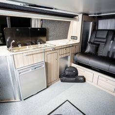 The Clark's Traditional 'Lux' BI-Turbo Edition Camper Conversion - New Wave Custom Conversions Vw T5 Interior, Campervan Interior, Vw Camper Conversions, Vw Transporter Camper, Land Rover Defender, Camper Van, Clarks, Trailers, Conversation