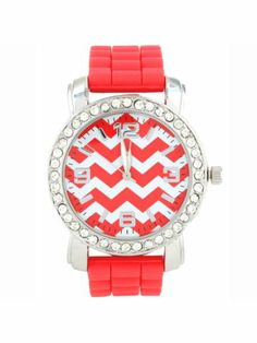 Coral Chevron Face Jelly Watch with Crystal Surround Beautiful Outfits, Cute Outfits, Jewelry Box, Jewelry Accessories, Coral Chevron, Cool Style, My Style, Diamond Are A Girls Best Friend, Anchors