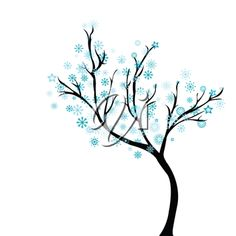 Winter tree with snowflakes. FINE ARTS