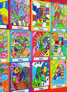 """Check out these gorgeous Romero Britto inspired art activities. {for instructional ideas: search """"inspiring Britto artwork""""} Line Art Lesson, Art Lesson Plans, Art Lessons For Kids, Art Lessons Elementary, Name Design Art, Name Art Projects, Arte Elemental, Classe D'art, 4th Grade Art"""