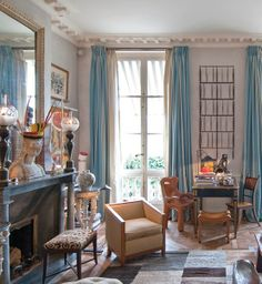 Jacques Grange's Paris living room with furniture by Emilio Terry, Jean-Michel Frank, Alexandre Noll and Paavo Tynell. Photo by Jacques Denaraud.