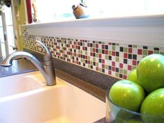 Custom Mosaic tile blends created with our Brio vitreous glass tile Custom Mosaic Tile, Green Kitchen Designs, Gorgeous Kitchen Tile, Kitchen Backsplash, Kitchen Backsplash Photos, House Tiles, Black Backsplash, Kitchen Tiles Backsplash, Kitchen Backsplash Tile Designs
