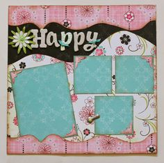 "* Kiwi Lane Scrapbook Layout  ""Happy"""