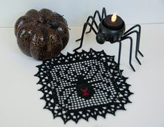 She won't bite, crocheted black widow spider, 7 inch square. Filet Crochet, Thread Crochet, Knit Or Crochet, Crochet Motif, Crochet Designs, Crochet Crafts, Crochet Doilies, Crochet Stitches, Crochet Projects