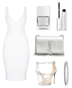 """""""White & silver"""" by ayse-h ❤ liked on Polyvore featuring Giuseppe Zanotti, Yves Saint Laurent, Nails Inc., Bobbi Brown Cosmetics and EF Collection"""
