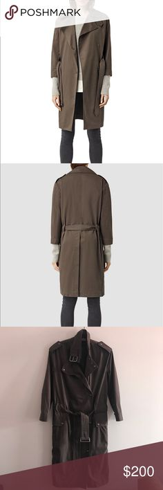 NWT All saints coat Brand new w tag. Beautiful neutral color. Flattering fit, snap closure, perfect for layering with a sweater. All Saints Jackets & Coats Trench Coats