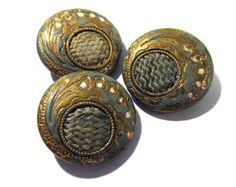 Victorian Perfume Buttons Enamel Perfume Antique Victorian Three(3) Lily of the Valley Edwardian Jewelry Sewing Reenactment Supplies (F98)