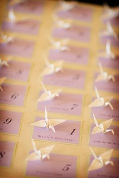 origami place cards | featured baby shower  http://blisscelebrationsguide.com/