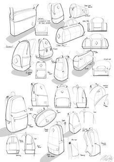 Sketchbook on Behance Drawing Sketches, Drawings, Bag Illustration, Fashion Sketches, Designer Backpacks, Collage, Sketch Design, Bag Design, Technical Drawing