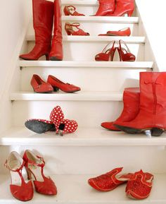 A red shoes collection.