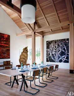 Blue-chip paintings and sculptures meet rustic bravado at a Martha's Vineyard residence conceived by design duo Ashe + Leandro | archdigest.com