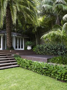 50 Awesome Front Yard Side Yard and Back Yard Landscaping Design Idea Tropical Garden Design, Tropical Backyard, Tropical Landscaping, Outdoor Landscaping, Landscaping Ideas, Tropical Gardens, Palm Trees Landscaping, Big Backyard, Back Gardens