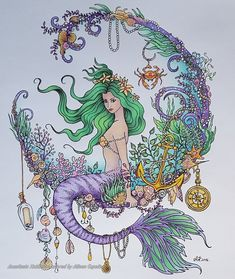 From the gorgeous Lengends of Mermaids, by Anastasia Koldareve Done with various pencils and yes, Some cleverly disguised chocolate Mermaid Artwork, Mermaid Drawings, Mermaid Tattoos, Art Drawings, Mermaid Paintings, Mermaid Tattoo Designs, Fantasy Mermaids, Real Mermaids, Mermaids And Mermen