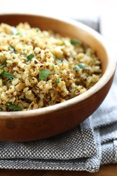 "Cauliflower ""Rice"" uses finely chopped cauliflower, which makes a fantastic low-carb, grain-free stand in for rice."