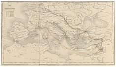 Map of the Crusades from The History of the Decline and Fall of the Roman Empire, 1862 edition, by Edward Gibbon