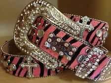 a581b7fc82dc Bhw Western Cowgirl Leather Cross Pink Zebra Leather Belt Xl Rhinestone  Bling