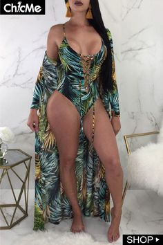 Lace-up Print One-piece Swimwear Cover Ups – bodyconest swimsuits one piece,cute bathing suits one piece,one piece swimsuit outfit style Swimwear Cover Ups, Swimsuit Cover Ups, Bathing Suit Cover Up, Bathing Suits, Plunging One Piece Swimsuit, One Piece Swimwear, Leopard Print Bikini, Trend Fashion, Women's Fashion