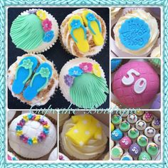 Hawaiian themed cupcakes Hawaiian Cupcakes, Holiday Cupcakes, Themed Cupcakes, Cake Pops, Cupcake Cakes, Desserts, Food, Summer, Tailgate Desserts