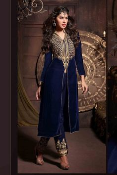 Look gorgeous with Blue Velvet Salwar Kameez Shop now http://zohraa.com/blue-velvet-salwar-kameez-z1435p1901-1.html sku : 53973  Rs. 6,499 #salwarsuits #suits #suitsonline
