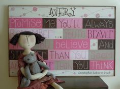 "Personalized Winnie the Pooh quote ""Always know you are braver..."" #children's sign, #personalized, #Etsy"