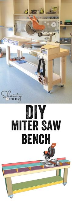 This DIY miter saw bench is a beauty. Just follow the step-by-step instructions to build one for your workshop. #WoodworkingTips #woodworkingbench