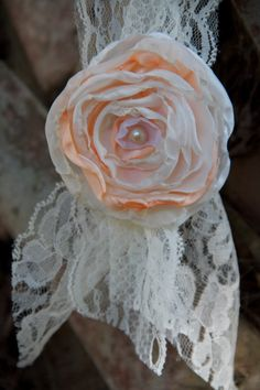 hanging wedding decor chair tie fabric flower by sunshowerflowers