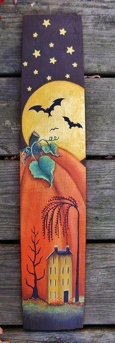 Hand painted autumn folk art on wooden barrel stave, Folk Art, All Hallows Eve, . Halloween Wood Crafts, Halloween Painting, Halloween Signs, Holidays Halloween, Halloween Crafts, Halloween Decorations, Scarecrow Painting, Halloween Pallet, Fall Decorations