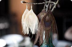 DIY Peacock Feather Earings