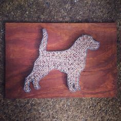 "Nail String Art - For porch ""Beware of Dog"" board Dog Crafts, Animal Crafts, Diy Arts And Crafts, Handmade Crafts, Wood Pallet Art, Wood Art, Nail String Art, Art Du Fil, String Art Patterns"