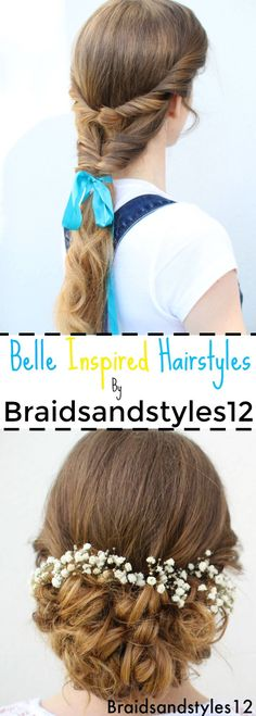 Emma Watson Belle Inspired Hairstyles from Beauty and the beast. Ponytail Hair Idea and a Curly Updo with flowers by Braidsandstyles12. Tutorial : https://www.youtube.com/watch?v=XSvGKfxhIyM