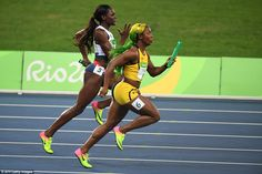 Jamaica's Shelly-Ann Fraser-Pryce and Daryll Neita of Britain were both…