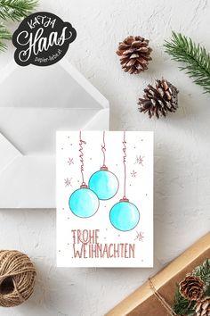 "Hand lettering card ""Merry Christmas- Handlettering-Karte ""Frohe Weihnachten Hand lettering card for Christmas, DIY with step-by-step instructions for copying. Christmas Bg, Christmas Drawing, Diy Christmas Cards, Xmas Cards, Diy Cards, Greeting Cards, Homemade Christmas, Mason Jar Crafts, Mason Jar Diy"