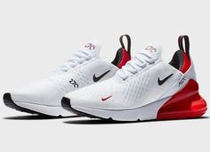 Released in October Nike added the 'University Red' colorway to the Air Max 270 family, which debuted earlier that same year. This inspiration for the was inspired by both the Air Max Cute Sneakers, Sneakers Mode, Sneakers Fashion, Air Max Sneakers, Nike Air Max Plus, Nike Air Shoes, Kd Shoes, Style Clothes, Men's Clothing