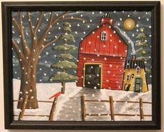 Snow Barn ORIGINAL Framed Canvas Panel PAINTING FOLK cat 8 x 10 Karla Gerard #FolkArtAbstractPrimitive