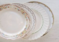 Mismatched Dinner Plates Set of 4 Tea Party by RosebudsOriginals