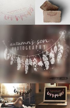 Tribal Logo Design. Bohemian Business Branding. Watercolor Feather. Photo Watermark. EL034.