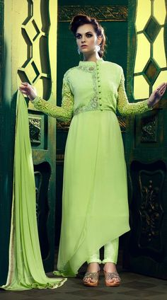 Voguish Resham Work Sleeves Pastel Green Parallel Pant Suit  MV900456  Classy pastel green color faux georgette fabric suit with santoon bottom and najneen fabric dupatta. This suit is covered with beautiful embroidery work on neck line and back side and green color resham embroidery work at sleeves. This Unstitch Salwar Kameez can be stitched in the maximum bust size of 42 inches