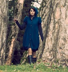 Blue hooded Coat with bubble shape Blue womens coat Blue by Malam