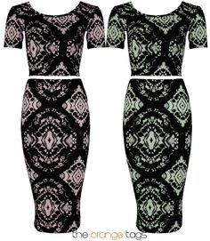 LADIES PRINTED TWO PIECE SKIRT SUIT BODYCON SKIRT CROP TOP WOMENS MIDI DRESS in Clothes, Shoes  Accessories, Women's Clothing, Dresses | eBay