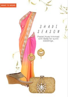 Exclusive Look by ishi Yellow Saree, Pink Clutch, Silver Pumps, Pink Earrings, Floral Border, Pearl Beads, Vip, What To Wear, My Style