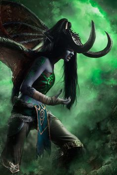 """Illidan Stormrage (fem.)"" by DEugen on DeviantArt. (Blizzard World of Warcraft feminized demon night elf cosplay photomanipulation)"