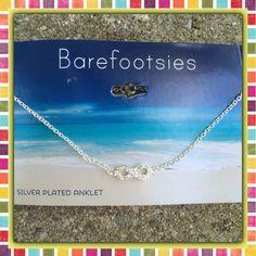 "New Listing  Eternity Ankle Bracelet NEW Eternity crystal and silver plated ankle bracelet.  Dainty!  9"" long Barefootsies Jewelry Bracelets"