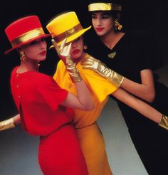 Eighties gold tone fever at its finest, photographed by Dominique Issermann. Here, all the looks are by Sonia Rykiel from Harper's Bazaar in March 80s Fashion, Fashion History, Fashion Dolls, Vintage Fashion, Fashion Trends, Space Fashion, Couture Fashion, Vintage Style, Sonia Rykiel